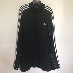 Adidas Men's Blk 3 Stripe Zipper Track Jacket 2XL